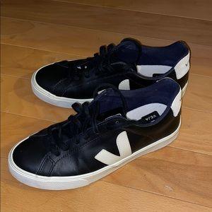Veja Black Leather Esplar Sneakers